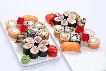 sushi set on the white background
