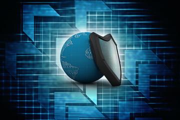 3d illustration Security concept - shield on digital code background