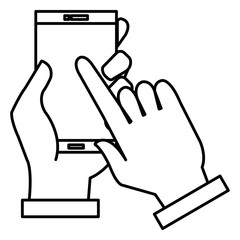 hands with smartphone device isolated icon