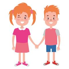 happy little couple characters