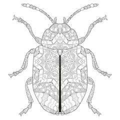 Zentangle stylized beetle. Hand Drawn lace vector illustration