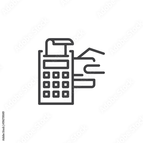 pos terminal with credit card and receipt outline icon linear style