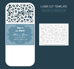 Envelope for wedding invitation or greeting card. Template for laser cutting. Vector illustration