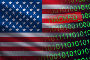 United States of America. hacked state security. Cyberattack on the financial and banking structure. Theft of secret information. On a background of a flag the binary code.