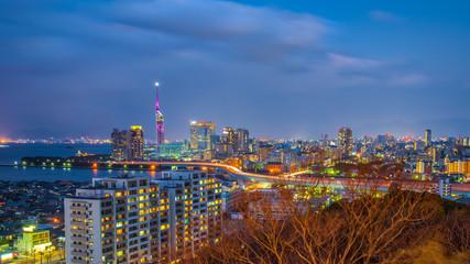 Fukuoka city skyline in Hakata, Fukuoka, Japan