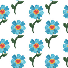 Seamless pattern with watercolor blue cute flower with heart