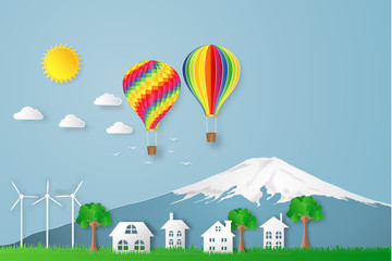 The hot air balloon, Fuji mountain in Japan and countryside on blue sky as travel, trip in the holiday , paper art and craft style concept. vector illustration.