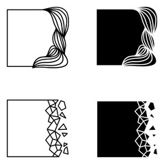 Set of square abstract logo elements.