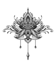 Abstract Zentangle Zendoodle  symbol in Boho Indian Asian Ethno  style for tattoo black on white for decoration T-shirt or for coloring page or adult coloring book