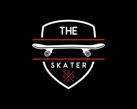 skateboard vintage retro logo badge design illustration,vintage design style, designed for apparel and logo