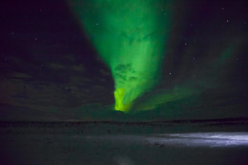 beautiful northern lights over lappland in finnland