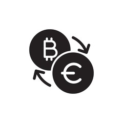 bitcoin euro exchange filled vector icon. Modern simple isolated sign. Pixel perfect vector  illustration for logo, website, mobile app and other designs