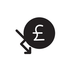 pound chart decrease filled vector icon. Modern simple isolated sign. Pixel perfect vector  illustration for logo, website, mobile app and other designs