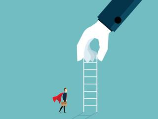 illustration of big hand giving ladder to businessman for help