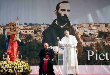 Pope Francis speaks to the faithful during his pastoral visit in Pietrelcina