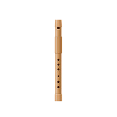 Wooden pipe, flute, music tube. Wind classic old musical instrument.