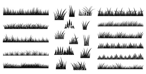 Long and short vector tufts of grass in black color with texture in flat style