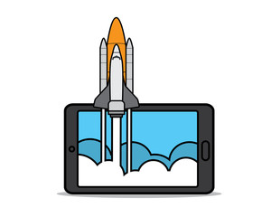 rocket launch on phone cartoon design illustration.cartoon design style, designed for illustration