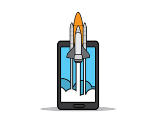 rocket launch on phone cartoon design illustration.cartoon design style, designed for illustration