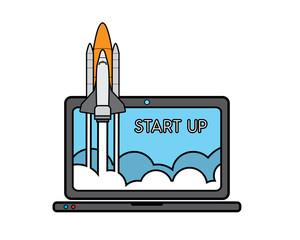 rocket launch on laptop cartoon design illustration.cartoon design style, designed for illustration