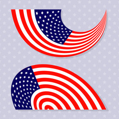 Set of stylish american flags. Vector illustration.