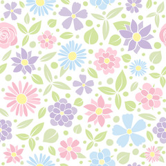Pastel coloured texture with cute flowers - seamless background. Vector.