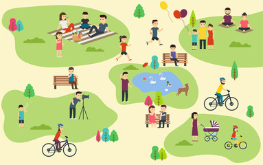 Summer public park with active people, family vacation, walk with dog, ride bicycles.