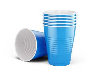 Blue disposable cups - plastic cups isolated on white. 3d rendering