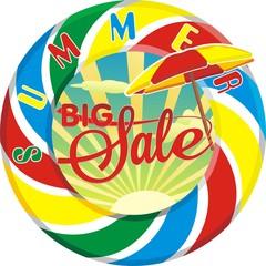 Summer sale - vector illustration. Big discounts, text on a transparent background