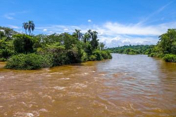 Parana river at iguazu falls