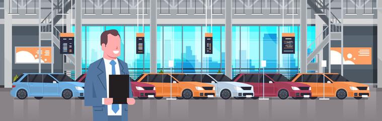 Seller Man In Cars Dealership Center Showroom Interior Over Set Of New Modern Vechicles Horizontal Banner Flat Vector Illustration