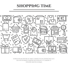 Shopping theme banner with horizontal rectangle consisting of line icons with editable stroke.