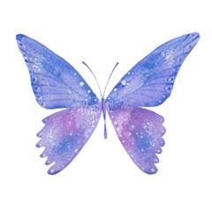watercolor blue butterfly