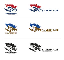 Pirates Logo Design Template, Smart and Handsome Male in Side view, combined with Head and Blade
