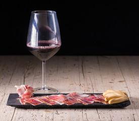 Spanish tapas, iberian loin, sausage. Iberian Acorn Ham