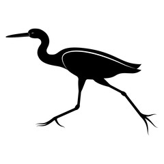 Vector image of the silhouette of the flying heron