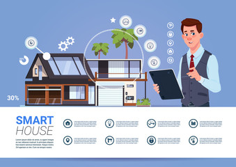Smart Home Automation And Control Technology Concept With Man Holding Digital Tablet Flat Vector Illustration