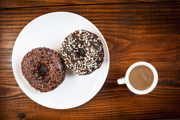coffee and chocolate donuts