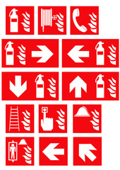 Sammlung von Brandschutzzeichen nach der aktuellen Form der ASR A1.3. Eps 10 Vektor Datei