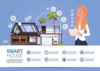 Smart Home Technology Banner With Woman Holding Digital Tablet Device With Control System Flat Vector Illustration