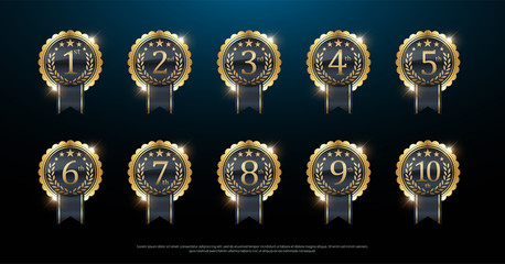 Award golden label of First, second and third winner. 1st, 2nd, 3rd, 4th, 5th, 6th, 7th, 8th, 9th, 10th. Vector illustration
