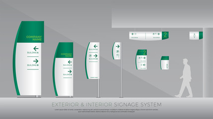 exterior and interior signage system. direction, pole, wall mount and traffic signage system design template set. empty space for logo, text, white and green corporate identity