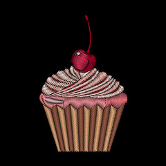 Cute embroidered cupcake for fashion design.