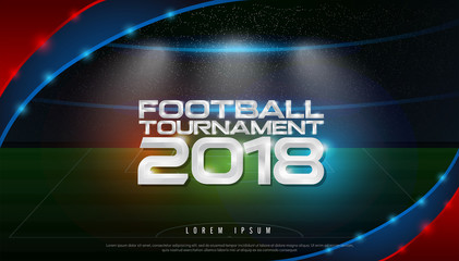 2018 world championship football tournament cup on stadium background. soccer logo broadcast graphic template