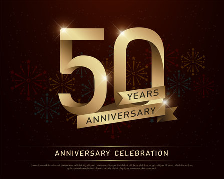50th years anniversary celebration gold number and golden ribbons with fireworks on dark background. vector illustration