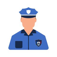 Police worker icon. Man worker. Cartoon style. Vector Illustration