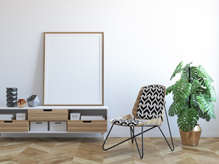 White scandinavian tropical interior