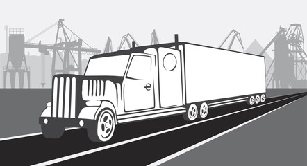 Truck on a background of an industrial landscape