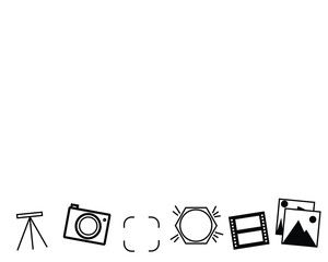 Black set of photography related icons, camera, tripod, frame, flash, film and pictures, space for text