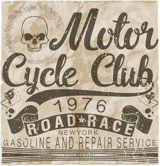 Motorcycle Gasoline labet tee graphic design